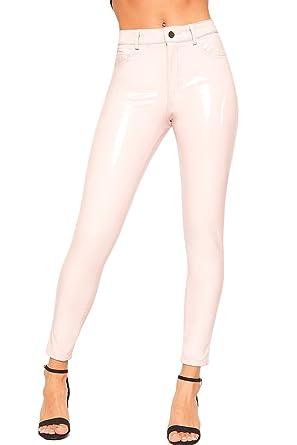 b62138936fafb WearAll Women's High Waisted Wet Look Vinyl Skinny Leg Jeans Ladies  Trousers Pants - Pink -