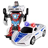 WolVol Robot Police Car Toy with Lights and Sounds for Kids, with Bump and Go Action