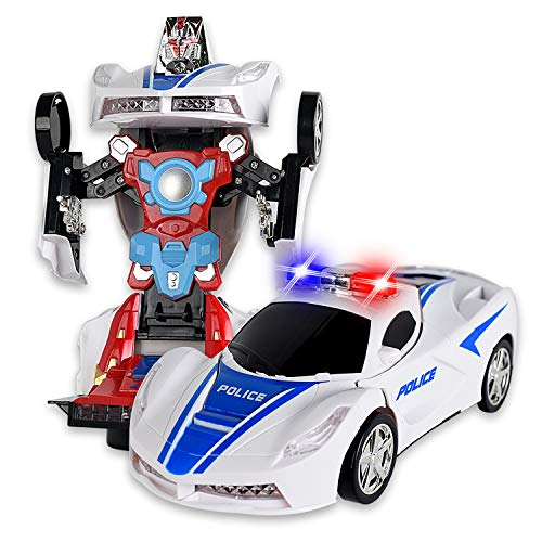 WolVol Transformers Robot Police Car Toy with Lights and Sounds for Kids, with Bump and Go Action]()