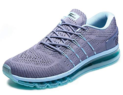 - ONEMIX Men's Air Running Shoes, Light Gym Outdoor Walking Sneakers Grey Blue Size 7 D(M) US