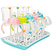 Baby Bottle Drying Rack, Large, V-Fyee Bottles Accessories Pump Parts and Nipples Dryer Stand Drainer (Cyan)