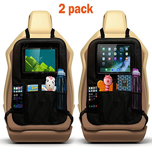 2 Car Seat Kick Protectors with Large Storage Pockets for Organizing Toys, Bottles, Books, Snacks. Front Seat Kicking Mat Protection with a Tablet Slot for Entertaining Kids in Carseats and Boosters - Kid No Back Booster Seat