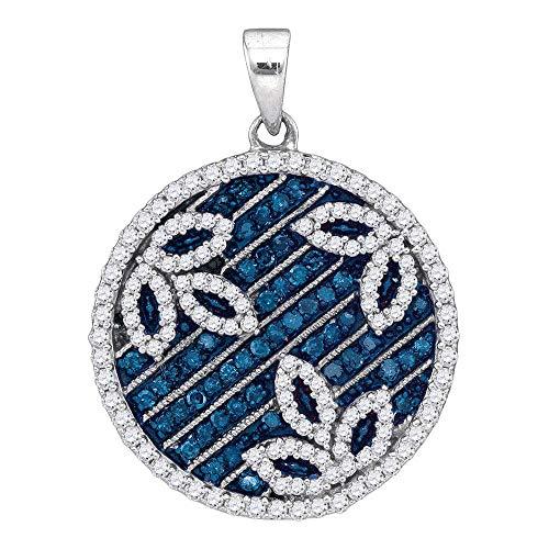 Mia Diamonds 10kt White Gold Womens Round Blue Color Enhanced Diamond Circle Floral Pendant (.75cttw) (I2-I3)