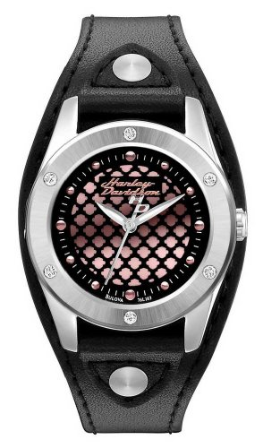 Harley-Davidson Women's Stainless Steel Black Leather Watch, Pink Logo 76L163