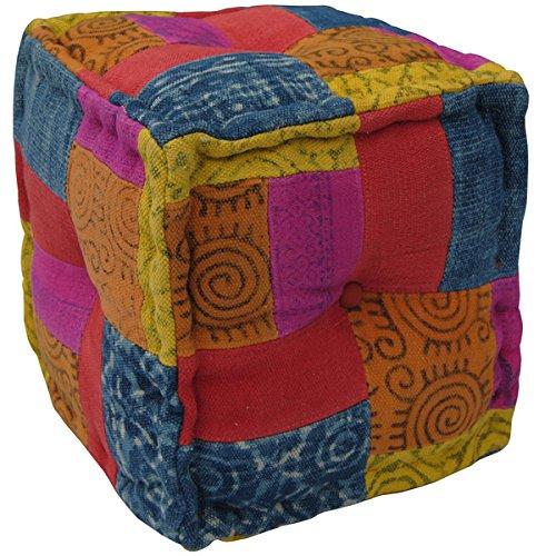 Herat Oriental Indo Handmade Striped Cotton Puff by Herat Oriental