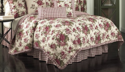 Waverly 14770BEDDF/QTSN Norfolk 90-Inch by 88-Inch Reversible 4 Piece Full/Queen Quilt Collection, Tea Stain ()