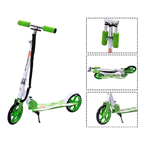 Goplus Folding Kick Scooter for Teen Deluxe Aluminum 2 Big PU Wheels Glider Adjustable Height w/ Kickstand Christmas Gift for Kids, 220lbs Capacity