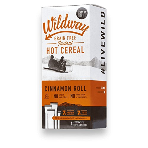 Wildway Vegan Hot Cereal Cups | Cinnamon Roll | Certified Gluten-Free, Grain-Free, Keto, Paleo, Non-GMO, No Artificial Sweetener  - 4pk (Best Paleo Cinnamon Rolls)