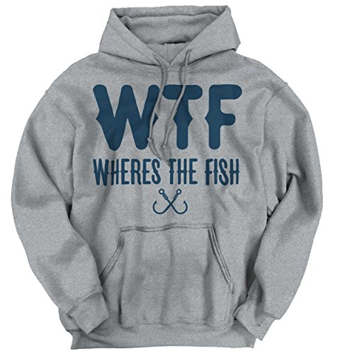 Brisco Brands WTF Wheres The Fish Fishing Shirt | Funny Gift Idea Sporting Hoodie Sweatshirt