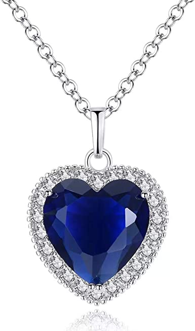 Sapphire Heart of the Ocean Diamond Necklace Pendant Unique Gift for Her Girl