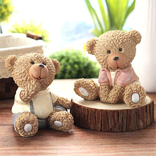 (Your only family American Teddy Bear Decoration Display Living Room Desk Cute Crafts Wedding Gift Resin Bear Decoration Beautiful (Style : Sitting Posture))