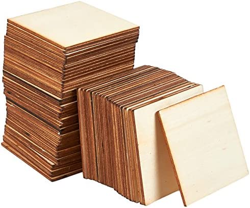 Wooden Cutouts for Crafts, Wood Squares (3 x 3 In, 60 Pieces)