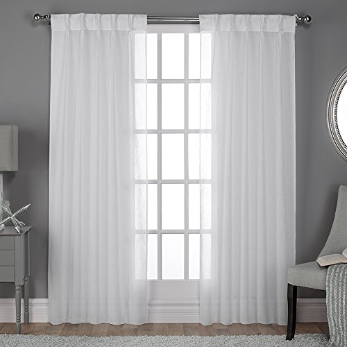 Exclusive Home Belgian Textured Linen Look Jacquard Sheer Window Curtain Panel Pair with Pinch Pleat Top, Winter White, 50x96 (Curtains Sheer Pleat Pinch)