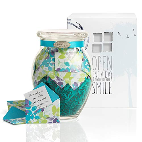 KindNotes Glass Keepsake Gift Jar with Blank Papers to Write-Your-OWN Messages -...