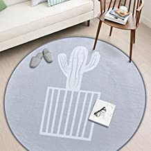 dream_home Northern Grey Series Round Rug - Grey With White Cactus Design Bedroom Bathroom/Hotel Mat 24 Inch