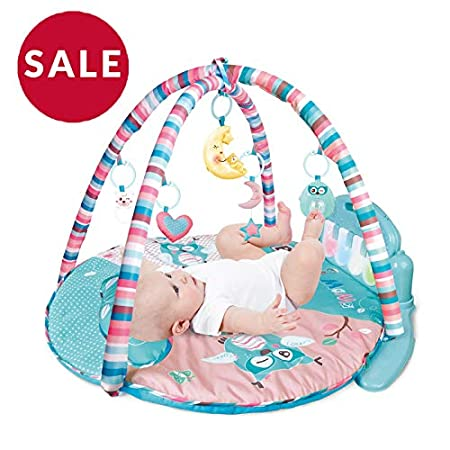PLS Baby Kick and Play Piano Playmat, (Medium, Light Blue) Baby Toys, Battery Included, For 6 to 12 Months Old, Interactive, Activity Toys, Lights and Sounds PLS Manufacturing