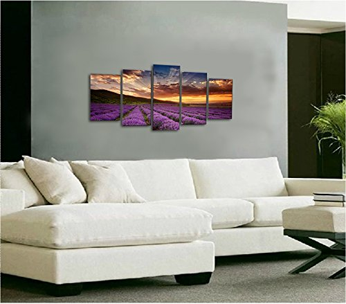 wieco art   provence lavender 5 piece giclee canvas prints