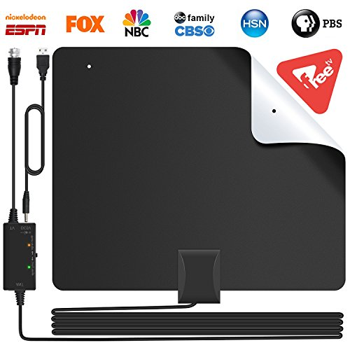 [2019 Version] Lesoom 85+ Miles HD TV Antenna V0 Fireproof PC Material Indoor Digital HDTV Antennas with Smart Amplifier,Support 1080P 4K VHF UHF for Local Channels Broadcast Fire TV Stick All Old TV by Lesoom