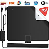 [2019 Version]Lesoom 85+ Miles HD TV Antenna V0 Fireproof PC Material Indoor Digital HDTV Antennas with Smart Amplifier,Support 1080P 4K VHF UHF for Local Channels Broadcast Fire TV Stick All Old TV