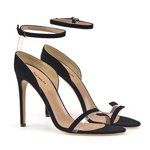 Black Haut Plateforme KJJDE Talon TLJ Taille PVC Grande Mode Sandales Sexy De Femme Fête Club Transgenre Mariage 910 Soirée 39 Cuir De en Coutures wIrqBTWI