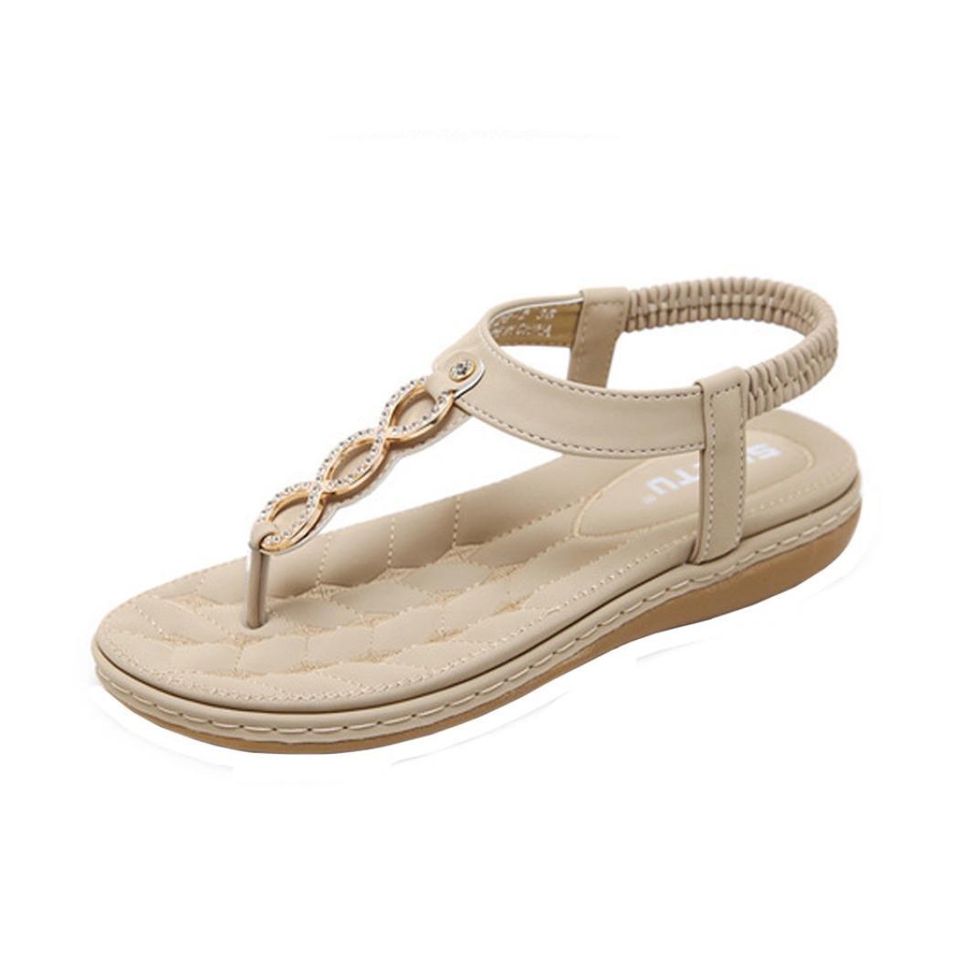 TWBB Frauen Sandalen Sommer Mode Mauml;dchen Metall Schnalle Strass Flache Outdoor SchuheEU:40|Khaki