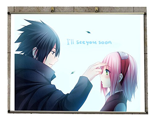 Canvas Wall Scroll Poster -Anime Naruto Sasuke Uchiha Sakura Haruno Short Hair Pink Hair
