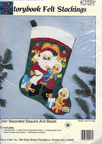(Vintage Storybook Jeweled Felt Stocking Kit : Santa & Kids)