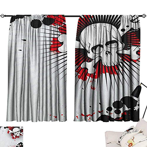 Aurauiora Waterproof Window Curtain Halloween,Skull with Crossed Bones Over Grunge Background Evil Scary Horror Graphic, Pearl Red Black 54