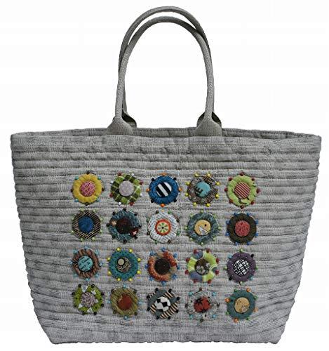 [柴田明美のパッチワークキット] 大小の丸とビーズのバッグ 出来上がり作品サイズ縦32cm×横48cm×幅16cm