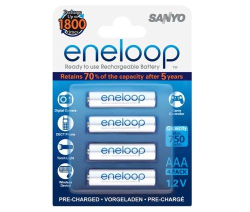 Sanyo eneloop AAA ReadytoUse Micro NI-MH Akku HR-4UTGB-4BP (750 mAh, 4er Pack)