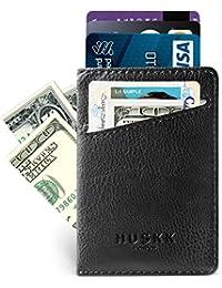 Slim Leather Wallets for Men - Mens Front Pocket Card Holder Sleeve - RFID Blocking
