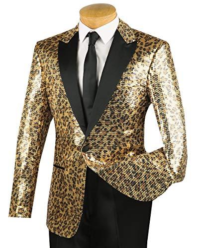VINCI Men's Leopard Print Sequins 1 Button Classic-Fit Tuxedo Jacket w/Black Shawl Lapel Gold | Size: S ()