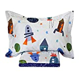 Brandream Space Bedding For Kids Boys Bedding Galaxy Bedding Sets Rockets Super Soft Bed Sheet Set Cotton Bed Sheets Sets-Flat Sheet Fitted Sheet Pillowcase Queen Size