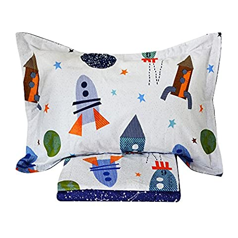 Brandream Space Bedding For Kids Boys Bedding Galaxy Bedding Sets Rockets Super Soft Bed Sheet Set Cotton Bed Sheets Sets-Flat Sheet Fitted Sheet Pillowcase Twin (Rocket Twin Bedding)