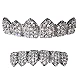 CZ Grillz Set Silver Tone Cubic Zirconia Micro Pave Bling Teeth Top & Bottom Row Iced-Out Hip Hop Grills