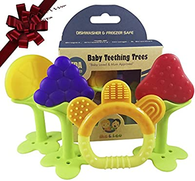 Ike & Leo Teething Toys - Trees: Baby Infant and Toddler, Best for Sore Gums Pain Relief, Eco Friendly BPA Free & Freezer Safe, Set of 4 Silicone Teethers by Ike & Leo that we recomend individually.