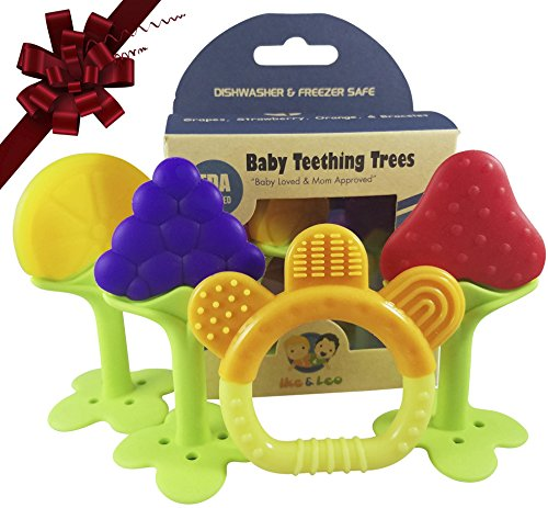Ike & Leo Teething TREES -Baby Infant and Toddler Toys, Best for Sore Gums Pain Relief, Eco Friendly BPA Free & Freezer Safe, Set of 4 Silicone Teethers