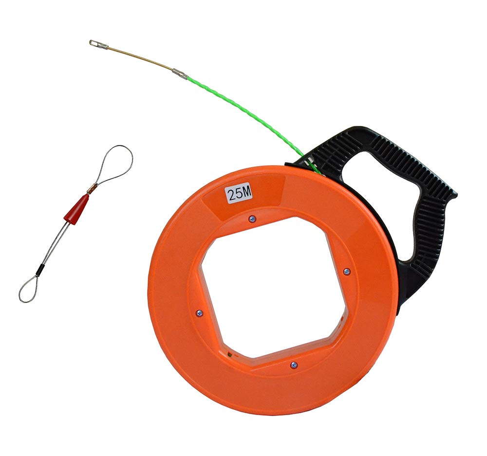 Electrical Fish Tape Case Wire Puller with 1pcs Fastener tool 4.3mm x 82 Feet/Up Grade Leader Hole (Orange)