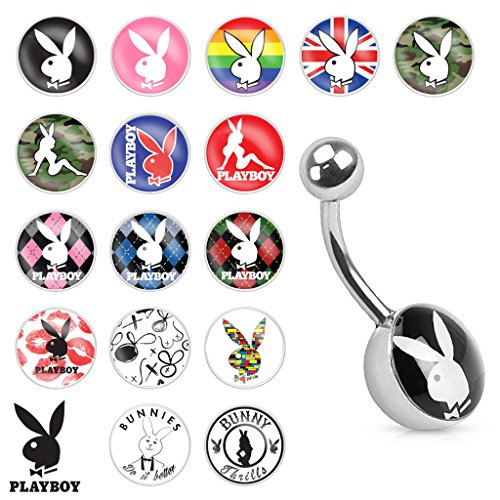 Playboy Bunny Logo Print Inlay 316L Surgical Steel Belly Button Ring - Rabbit Logo Belly Button