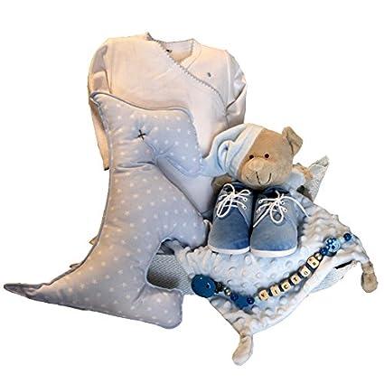 Cesta regalo bebé - Cuki perro azul - cesta regalo recién nacido Mil ...