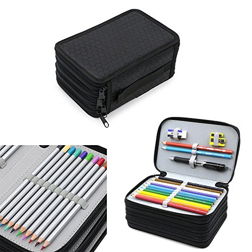 niceEshop(TM) Handy Wareable Oxford Lápiz Estuche Para Lápices De Color - 72 Porta-lápiz de Ranura, Negro Negro