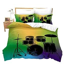 Boys Duvet Cover Drum Kit Bedding Set Rock Hip Hop Bedding Set for Kids Teens Girls Soft Luxury Microfiber Music…
