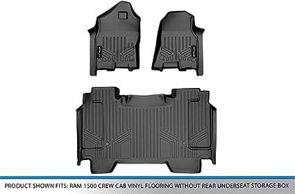 SMARTLINER Custom Floor Mats 2 Row Liner Set Black for 2020 Ram 1500 Crew Cab Vinyl Floor Without Rear Underseat Storage Box