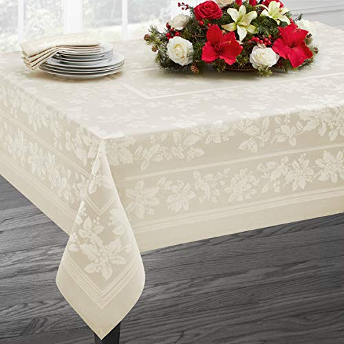 Benson Mills Holiday Elegance Engineered Jacquard Christmas Tablecloths (Ivory, 60