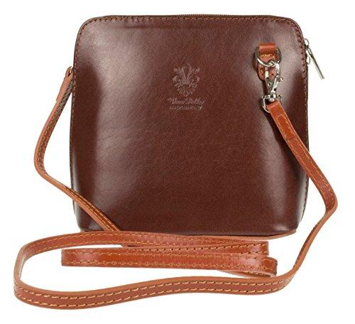 Genuine Body Shoulder Bag or Mini Leather Handbag Bag Italian Cross Brown Pelle Vera Tan Small RHSqxRnr