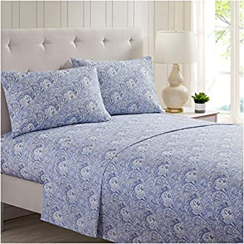 Mellanni Bed Sheet Set Brushed Microfiber 1800 Bedding - Wrinkle, Fade, Stain Resistant - 3 Piece (Twin XL, Paisley Blue)