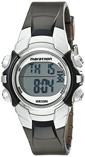 Marathon by Timex Unisex T5K805 Digital Mid-Size Black/Silver-Tone Resin Strap Watch