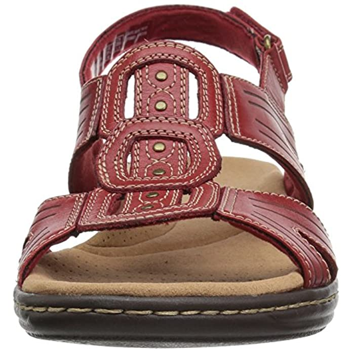 Clarks Women's Leisa Vine Platform Red Leather 9 5 Medium Us