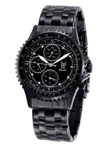 Konigswerk Mens Watch Black Stainless Steel Bracelet Multifunction Big Dial Crystal Markers SQ201415G