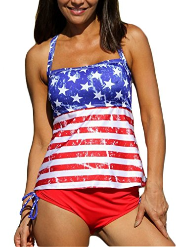 Womens American Flag Sexy Two Piece Swimsuits Bathing Suits Tankini Set Beach